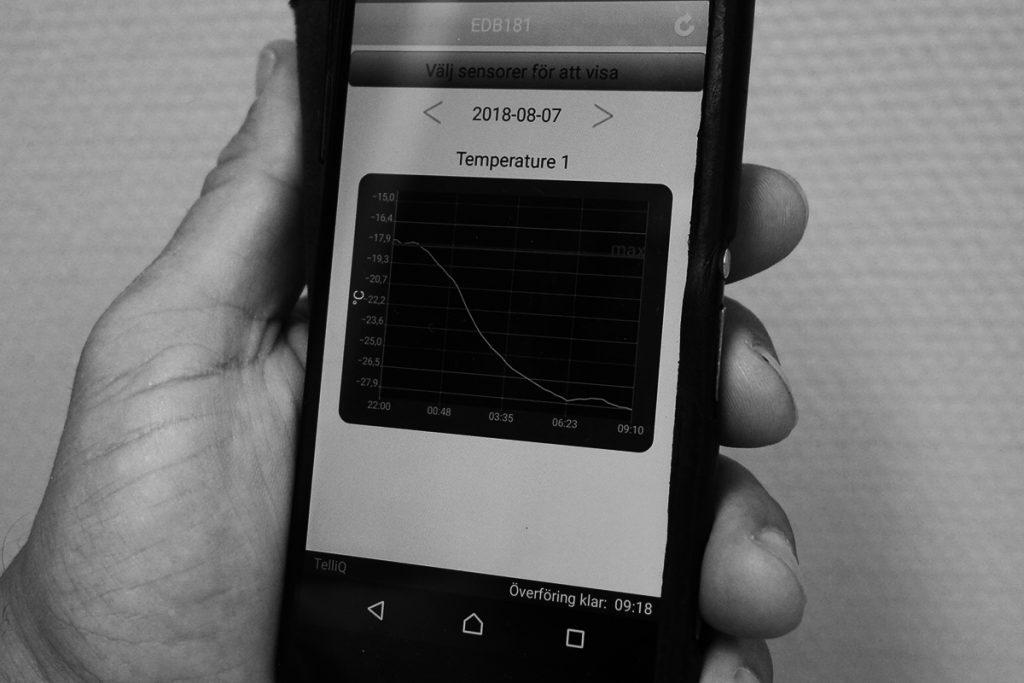 Temperaturuppföljning för transport i mobilen